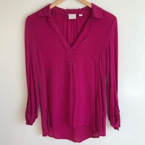 Anthropologie Magenta V-Neck High-Low Modal Top